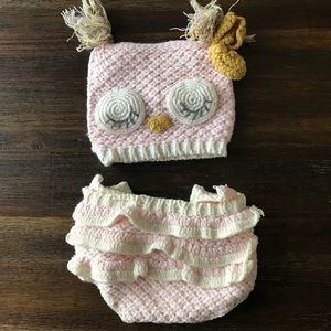 Other - New Born hand knit hat with diaper cover Owl 0/S